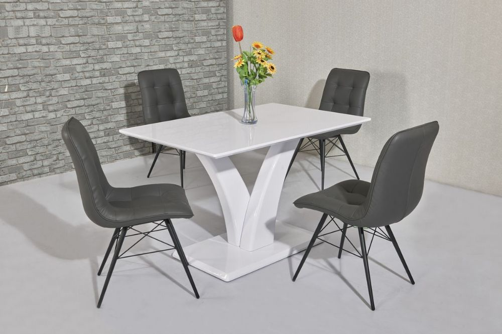 GA Elsa White Dining Table &  4 Grey Hix Chairs